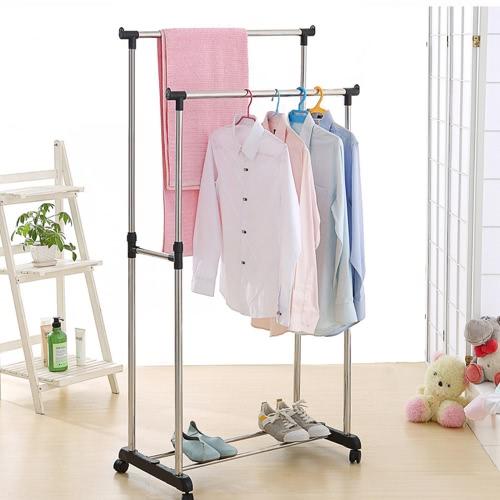 iKayaa métal réglable double rail vêtements vêtement rack