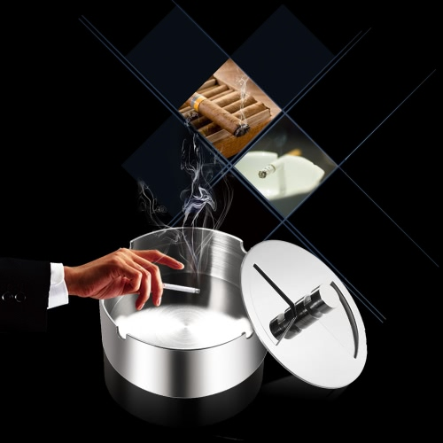 High-grade Stainless Steel Round Revolving Ashtray with Spinning Tray Wind-proof Ash-tray for Hotel
