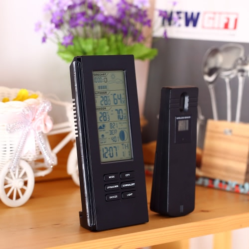 Multi-functional Wireless Weather Station Clock Digital LCD Indoor Outdoor Thermometer Temperature Alert Hygrometer Barometer Calendar Moon Phase Display