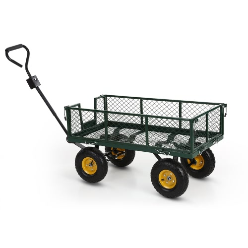 iKayaa Multi-use Heavy-duty Steel Utility Garden Cart 300kg Capacity Beach Outdoor Lawn Wagon Dump Cart W/ Removable Sides