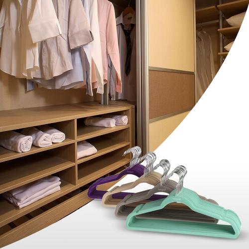 Homgeek 60PCS Non-slip Velvet Clothes Hangers