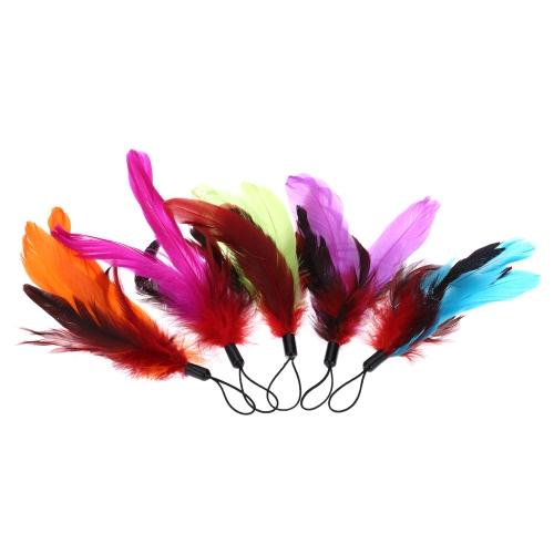 5PCS Colorful Kitten naturelles longue plume Pet Cat Teaser Design Mignon remplacement Recharge Feather pour Cat Rod Wand