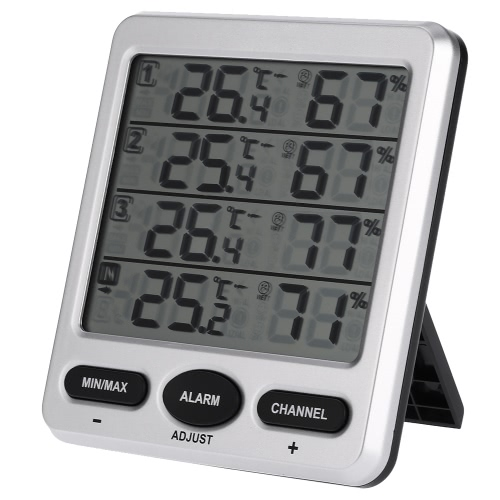 LCD Digital 433MHz Wireless 8-Channel Indoor/Outdoor Thermo-hygrometer with Three Remote Sensors Thermometer Hygrometer Comfort Level Alarm Function