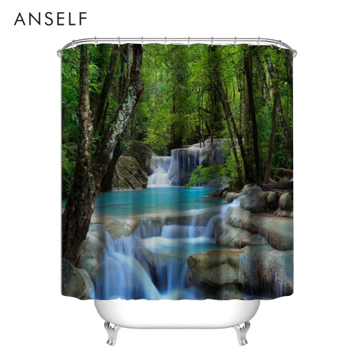 Anself High Quality 3D Waterfall Design 180*180cm/180*200cm Bathroom Waterproof Polyester Fabric Bath Curtains Thickened Mouldproof Shower Curtain with 12 C  Ring Hooks