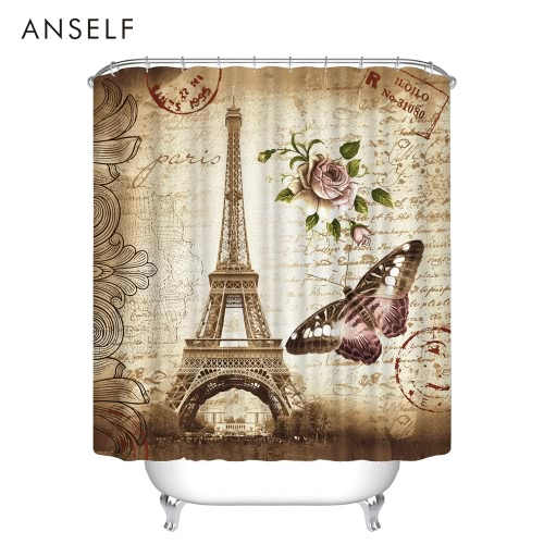 Anself Bathroom Waterproof Polyester Fabric Bath Curtains 3D Red Lip/Red Maple/Butterfly Eiffel Tower Design 180*180cm/180*200cm Thickened Mouldproof Shower Curtain with 12 C  Ring Hooks