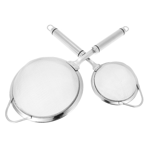 2pcs/set Solid Durable 304 Stainless Steel Fine Mesh Strainer Sifter High-end Kitchen Utensil Set Food Strainers
