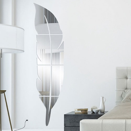 Removable Adhesive 3D Feather Mirror Art Mural Stickers DIY 6pcs