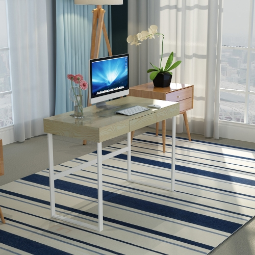 Tomtop Ikayaa Modern Metal Frame Computer Desk Table With Drawer Home Office Study Writing Workstation