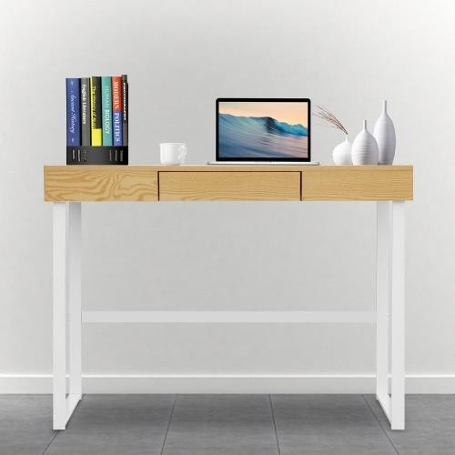 IKayaa moderna mesa de metal mesa de escritorio con cajón