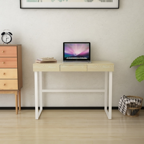 iKayaa Modern Metal Frame Computer Desk Table with Drawer