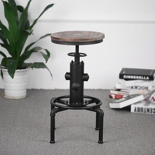 iKayaa Bar Stool Height Adjustable Swivel Pinewood Top Kitchen Dining Chair