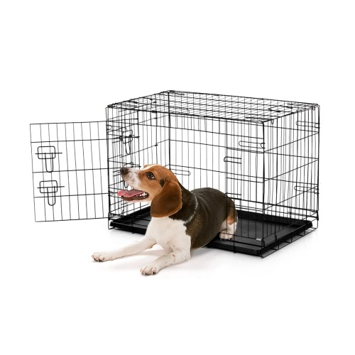 "IKayaa 30 ""Металлическая складная клетка для ящиков для собак W / Tray + 2 Doors Cat Rabbit Pet Kennel House for Animal"