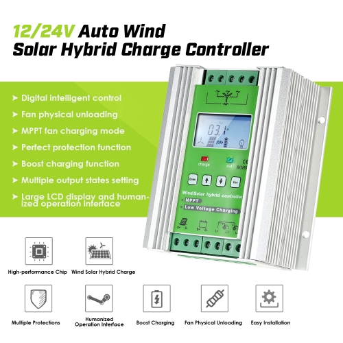 Decdeal LCD Wind Solar Hybrid Charge Controller MPPT Boost Charge 12/24V Auto Lighting Street Lamp Charging Controller 300W Wind
