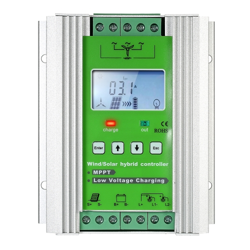 LCD Wind Solar Hybrid Charge Controller MPPT Boost Charge 12/24V Auto Lighting Street Lamp Charging Controller 300W Wind