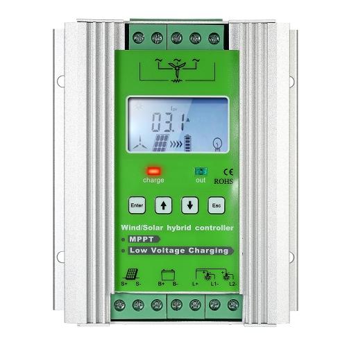 LCD Wind Solar Hybrid контроллер заряда MPPT подзарядку 12 / 24V Auto Lighting уличный фонарь зарядки контроллер 300W Ветер