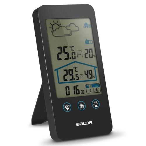 Duży ekran Bezprzewodowe Indoor Outdoor Stacja pogodowa Higrometr Temperatura Wilgotnośćomierz Weather Forecaster Station Cyfrowy zegar Data Data wyświetlania Wielofunkcyjny zegar fazowy z czujnikiem zewnętrznym