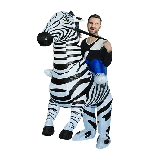 Adorable adulto inflable Rider traje Cute Zebra Cosplay Prop inflable traje de disfraces traje de animales para el festival de fiesta Gala Parade Halloween Carnival Party