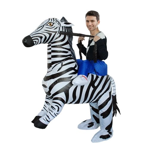 Adorable adulto inflable Rider traje Cute Zebra Cosplay Prop inflable traje de disfraces traje de animales para el festival de fiesta Gala Parade Halloween Carnival Party