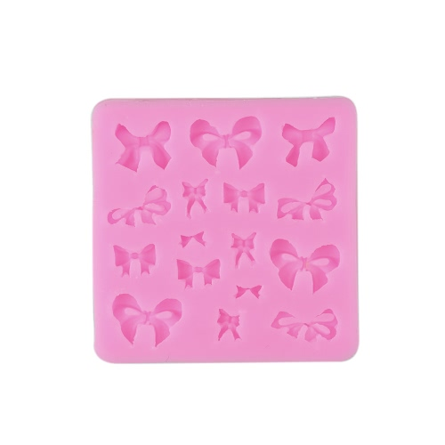 16 Cavities Small Bow Bowknot Silicone Mold Sugar Craft DIY Gumpaste Cake Decorating Clay Fondant Chocolate Jello Candy Biscuit and Soap Mould