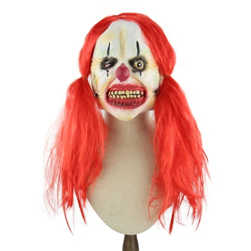 Latex Full Face Scary Toothy Clown Maske mit Red Twin Schwanz Haar Elastische Tape für Halloween Masquerade Kostüm