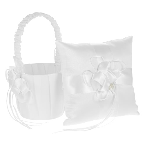 7 * 7 inches Ivory White Satin Flower Bowknot Ring Bearer Pillow and Wedding Flower Girl Basket Set
