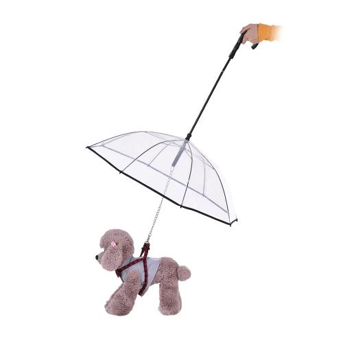 Paraguas de perro mascota transparente con correa para perros