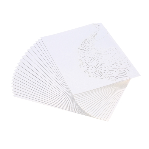 20pcs/set Wedding Invitation Cards Kit Pearl Paper Laser Cut Hollow Peacock Pattern Invitation Cards for Wedding Anniversary Birthday Party