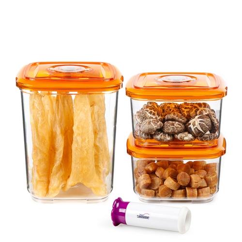 контейнеры для хранения пищевых продуктов для хранения синомеров 3pcs / set с карманными вакуумными насосами с герметичными накопителями для хранения пищевых продуктов Контейнер для хранения зерна для контейнеров Прозрачный ящик для хранения продуктов 1300 мл + 1300 мл + 3000 мл