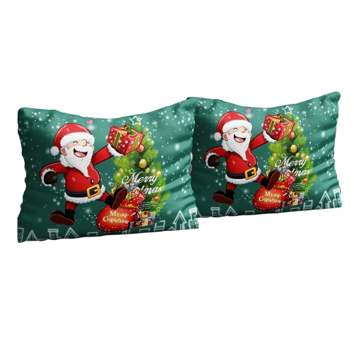 2pcs/set 20 * 26'' Soft Polyester Christmas Santa Pattern Pillowcases Christmas Bed Pillow Covers Cases Bedroom Decoration--Standard Size