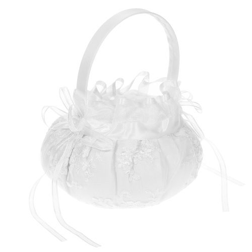 Ivory White Satin Wedding Flower Girl Basket with Embroidery Pattern Wedding Supplies