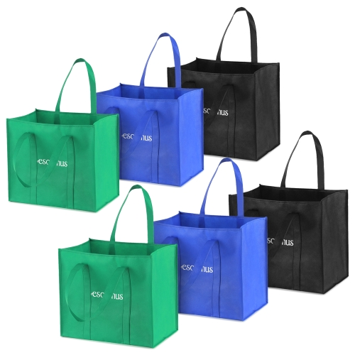 Esonmus 6pcs / set Многоцелевые многоразовые нетканые сумки для больших сумм для покупок Складные сумки для покупок Сумки для хранения с двойными усиленными ручками
