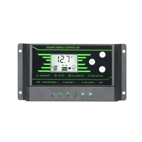 10A 12V/24V Auto LCD Solar Charge Controller Load Battery Regulator Dual USB 5V Output Overload Protection