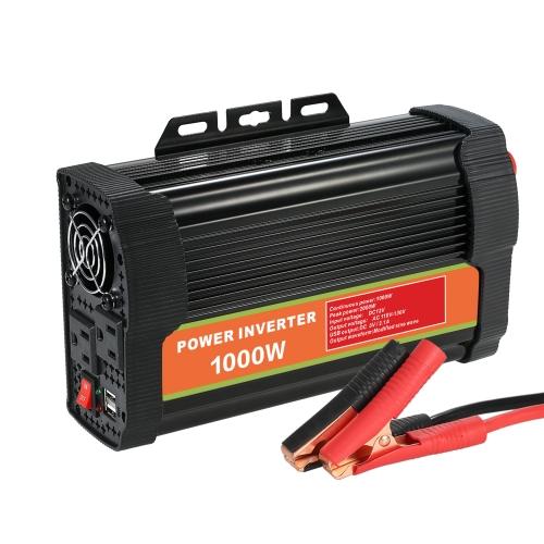 DC12V zu AC110-130V Power Inverter Modifizierte Sinuswelle Haushalt Auto Converter mit 4.2A Dual USB und 2 Steckdosen