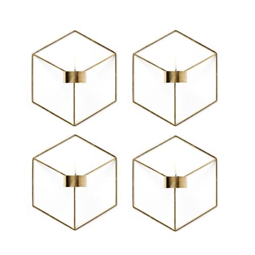4PCS скандинавский стиль 3D геометрический подсвечник металлический стенд держатель свечи