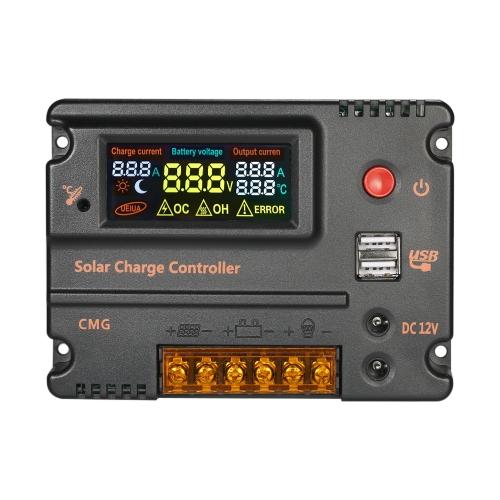 Decdeal 12V 24V Solarladeregler Batterie Regler mit LCD-Farbdisplay Überlastschutz Temperaturkompensation