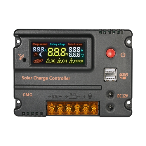 Decdeal 12V 24V Solar Charge Controller Battery Regulator с ЖК-дисплеем Цветная защита от перегрузки Температурная компенсация