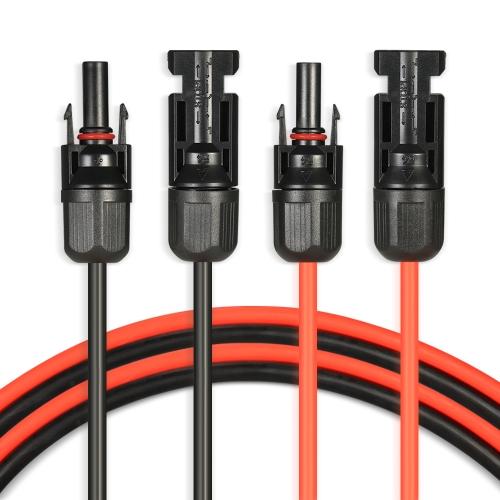1 par de pies negro + 10 pies rojo 10AWG Cable de extensión del panel solar con conector hembra y macho MC4