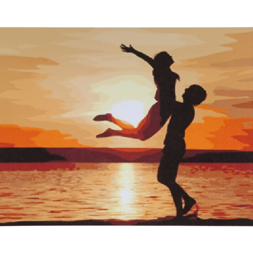 Без рамки DIY Digital Oil Painting 16 * 20 '' Lovers Hand-Painted Cotton Canvas Paint по номеру Kit Домашний офис Wall Art Картины Декор
