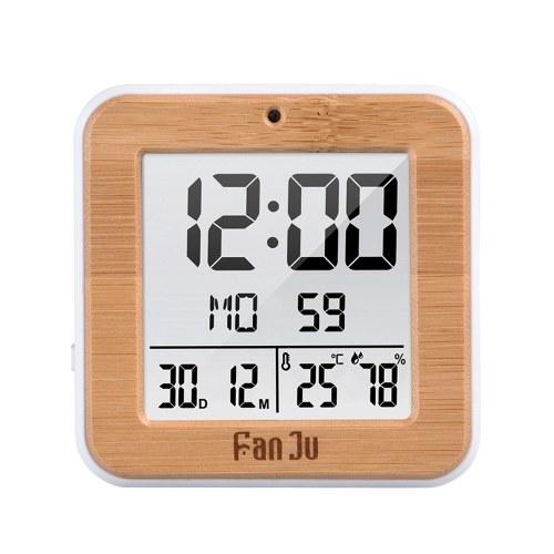 FanJu Mini Портативные цифровые часы с температурой Дата Время Показать хорошее Многофункциональный ЖК-будильник для путешествий Деловая поездка