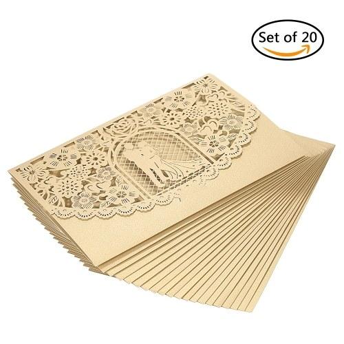 20pcs / set Hochzeit Einladungskarte Abdeckung Pearl Paper Laser Cut Braut Bräutigam Muster Einladungskarten Hochzeitstag Lieferungen - Gold
