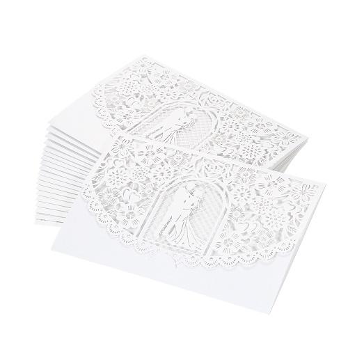 20pcs / set Обручальное кольцо карточки приглашения обруча бумаги перлы лазера вырезает Bridalgroom шаблоны приглашения карточки Wedding Anniversary Supplies - White фото