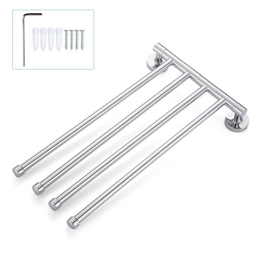 Space-saving Wall-Mounted Stainless Steel Swivel Bar Towel Rack Multifunctional Bath Towel Holder Bathroom Towel Rack Towel Bar