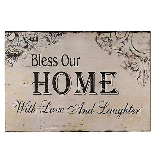Декоративная деревянная настенная висящая табличка с надписью Благословляет наш дом с любовью и смехом от белого черного дома