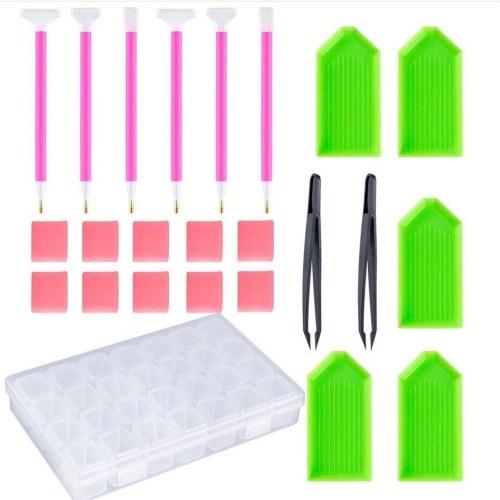 Комплект из 24 5D инструментов для рисования бриллиантов Набор для сверления + клей + пластиковый лоток + пинцет + дрель для хранения с бриллиантами