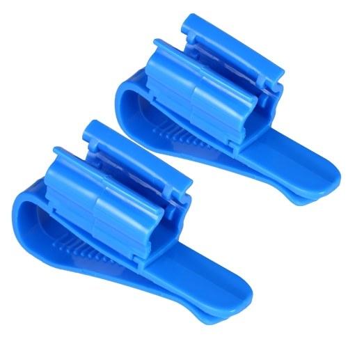 2本の多機能ホースホルダー青プラスチック調節可能な魚タンク水槽ろ過バケット8-16ミリメートル水パイプ/チューブ用クリップ