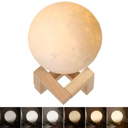 Image of 3D-Druck Mondlicht Schlafzimmer Dekor mit Holzständer - 9cm
