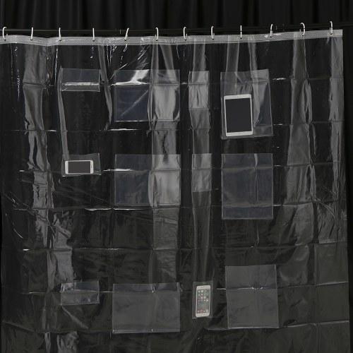 Многофункциональный держатель для планшетов для телефона Clear Curtain с карманами для сенсорных экранов для ванной комнаты
