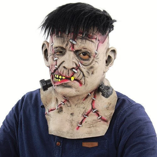 Latex Full Head Neck Toothy Bloody Freak Mask Scary Creepy Mask