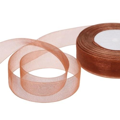 25мм 50 ярдов / рулон Silk Organza Transparent Ribbon DIY Making Christmas Ribbons фото