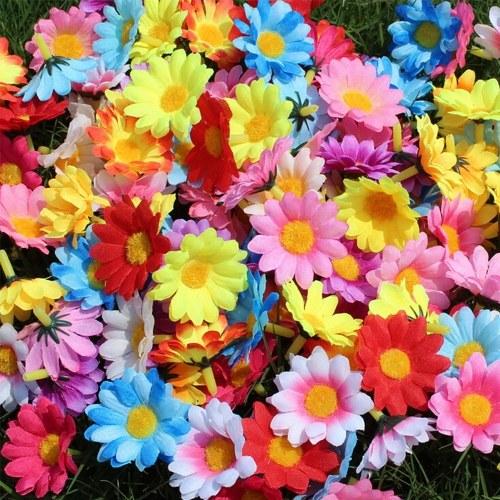 100pcs linda mini colorido artificial girassol margarida flores cabeças